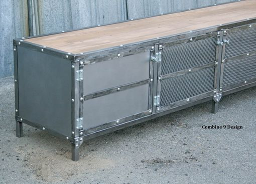 Custom Made Modern Industrial Buffet/Metal Sideboard (Media Console/Credenza). Reclaimed Wood, Vintage. Urban