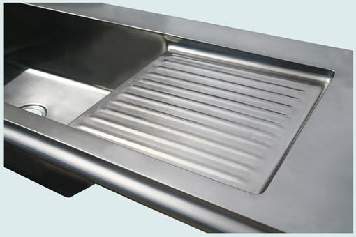 Custom Made Pewter Countertop With Integral Sink And Drainboard