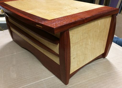 Custom Made Curly Maple And African Paduak Jewelry Box