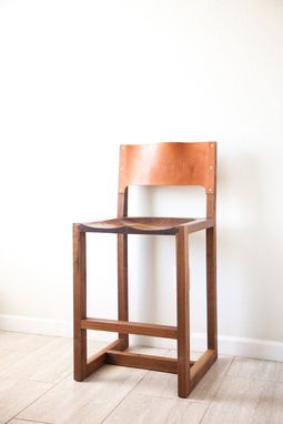 Custom Made Leather Back Bar Stool