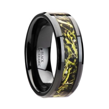 Custom Made Everglade Black Ceramic Wedding Band With Green Marsh Camo Inlay Ring - 8mm