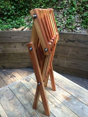 Custom Made Folding Redwood Side Table
