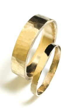 Custom Made Hammered Flat Wedding Bands