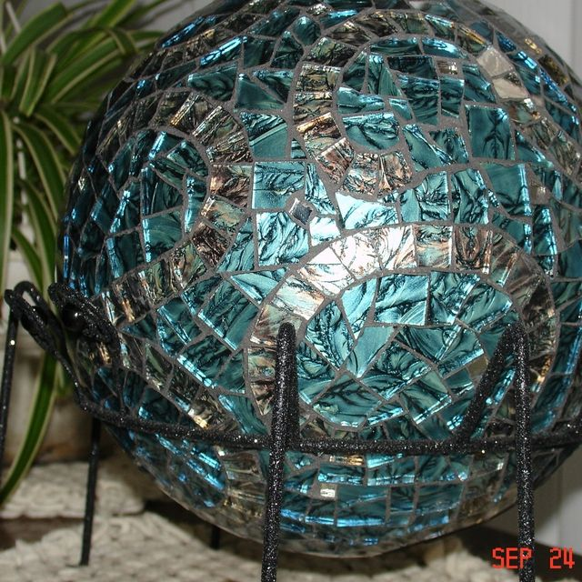 patterns for gazing balls custom made stained glass mosaic gazing ball in van gogh blue with