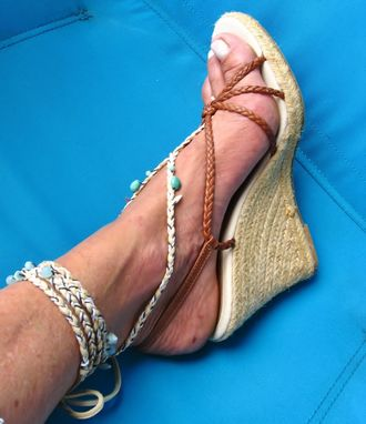 Custom Made Barefoot Sandals. Toe Thong. Foot Jewelry. Earthy Colors. It Fits Shoe Size 10 And Up.