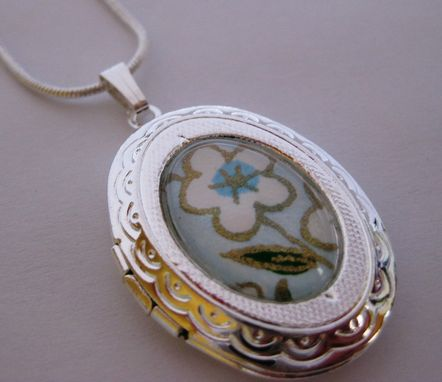 Custom Made Silver Locket With White And Blue Flowers Design On Snake Chain Necklace
