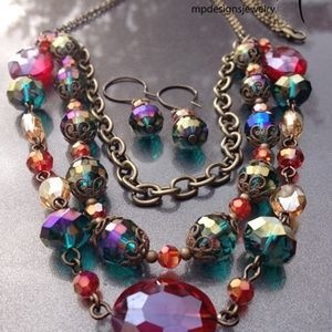 Custom Made Adore! ~ Brass Layered Crystal Jewelry Set