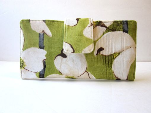 Custom Made Handmade Women Wallet Ivory Dogwood Stripe In Olive - Ready To Ship