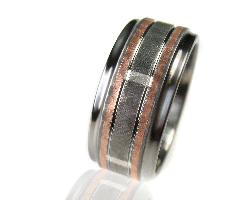 Custom Made Hammered Titanium Silver Rose Gold Wedding Ring