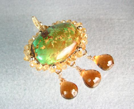 Custom Made Golden Paradise Pendant Ooak Green Turquoise Citrine And Fine Amber Quartz Gold Filled Wire Wrapped
