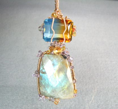 Custom Made Golf Filled Wire Wrapped Sapphire Labradorite And Ametrine Gemstones Pendant On Chain Necklace