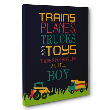 Custom Made Trains Planes Trucks Canvas Wall Art