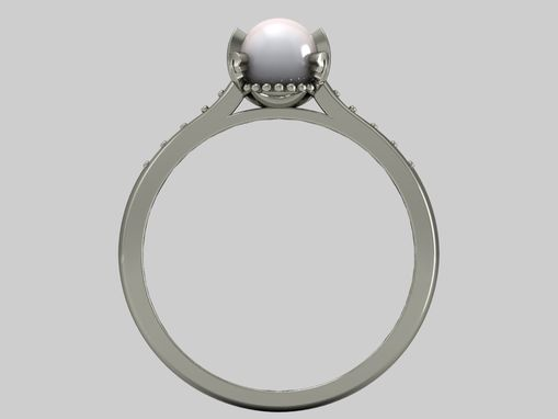 Custom Made 14 Kt White Gold Pearl And White Sapphire Engagement Ring
