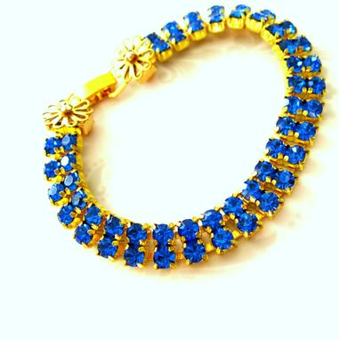 Custom Made Double Row Sapphire Rhinestone Bracelet.