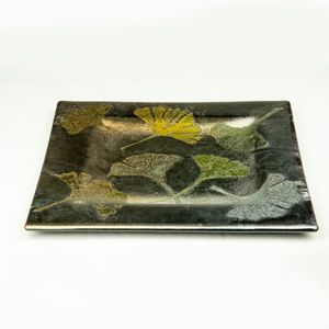 Custom Made Iridescent Pattern Glass Plate With Gingko Leaves