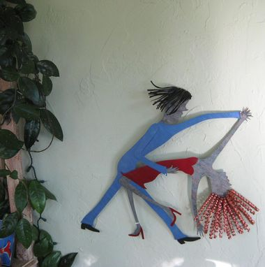 Custom Made Art Sculpture - Antonia And Raoul - Sexy Latin Dancers Upcycled Metal Wall Decor