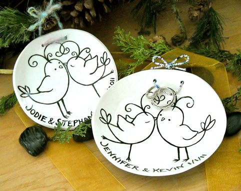 Custom Made Cermaic Pottery Personalized Custom Love Birds Ring Bearer Bowls Pair
