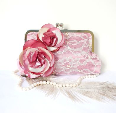 Custom Made Old Rose Clutch Purse With Pearls And Crystal Beads
