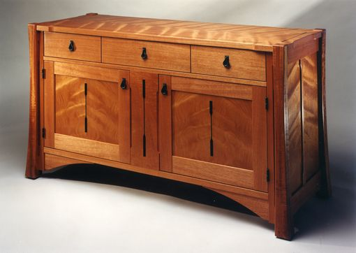 Custom Made Figured Mahogany Credenza With Black Pear Inlays