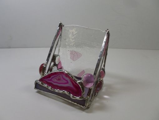 Custom Made Stained Glass Upright Business Card Holder With Pink Brazilian Agate