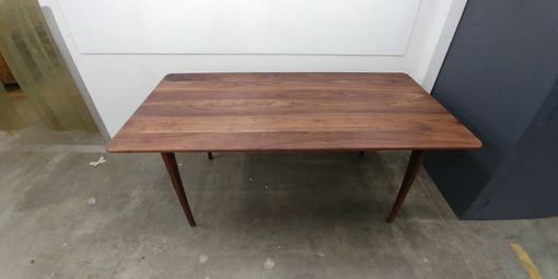 Custom Made Mid-Century Modern Solid Walnut Dining Table (Or Desk)