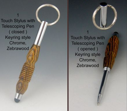 Custom Made Touch Stylus Keyring With Telescoping Mini Pen, Exotic Wood Body, Five Available Colors