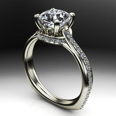 Custom Made Cathedral Diamond And Accent Collar Engagement Ring