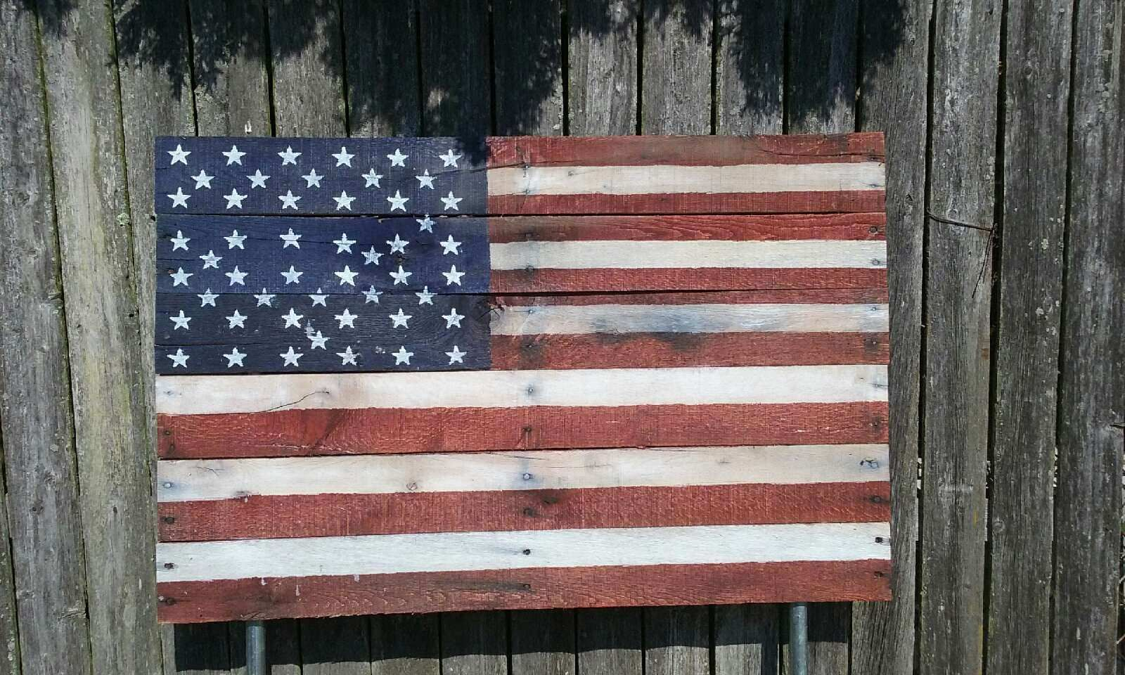 Hand Made American Flag Made Out Of Pallets By Brits