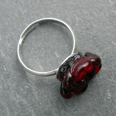 Custom Made Red Hand-Blown Glass Rose Ring