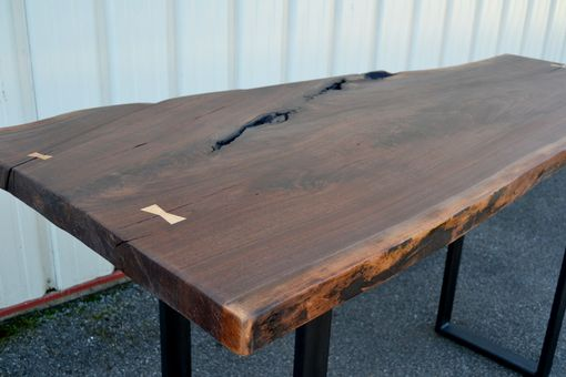 Custom Made Live Edge Walnut Standing Desk With Modern Base