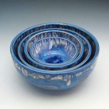 Custom Made Blue Pottery Nesting Bowls