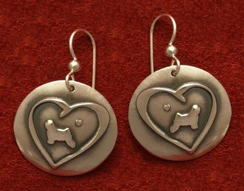 Custom Made Round Tibetan Terrier In Heart Earrings - Medium