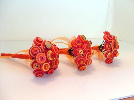 Custom Made Orange Buttons Bridal Toss Bouquet In Set Of Three