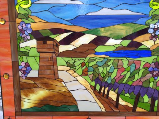 Custom Made Huge Napa Valley/Tuscany Stained Glass Window