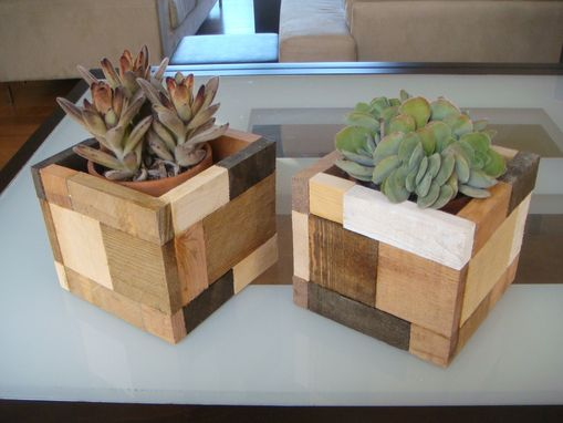 "Custom Made Wood Flower Pot ""Calico"""