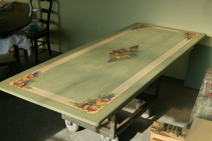 Hand Crafted Custom Painted Lite Green Farm Table With