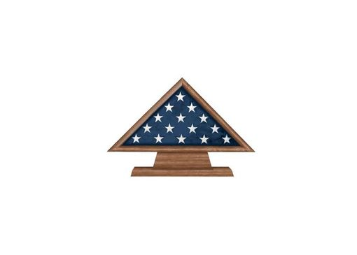 Custom Made Memorial Flag Case For 3 X 5 Flag+Pedestal With Engraved Plate