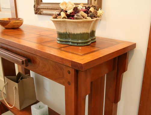 Custom Made Solid Cherry Hall Table With Walnut Accents