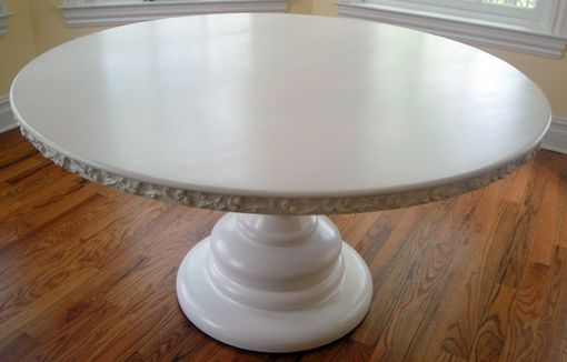 Custom Made Round Pedestal Table With Carved Edge