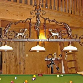 Handmade beer mug chandelier for pool table by chicwatts pool table chandelier fabricated metal sculpture by jacob dean aloadofball Gallery