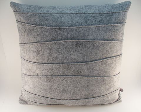 Custom Made Gray Wool Felt Pillow - Pin Tucked And Ribbed Handmade Modern Pillow