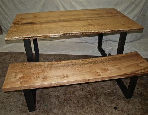 Custom Made Live Edge Maple Table & Bench