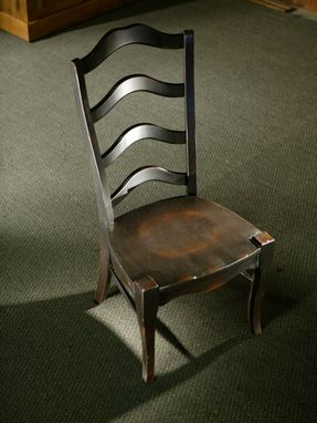 Custom Made Black 4 Slat French Ladderback Chair