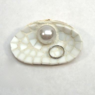 Custom Made Large White Seashell Wedding Ring Dish With Pearl