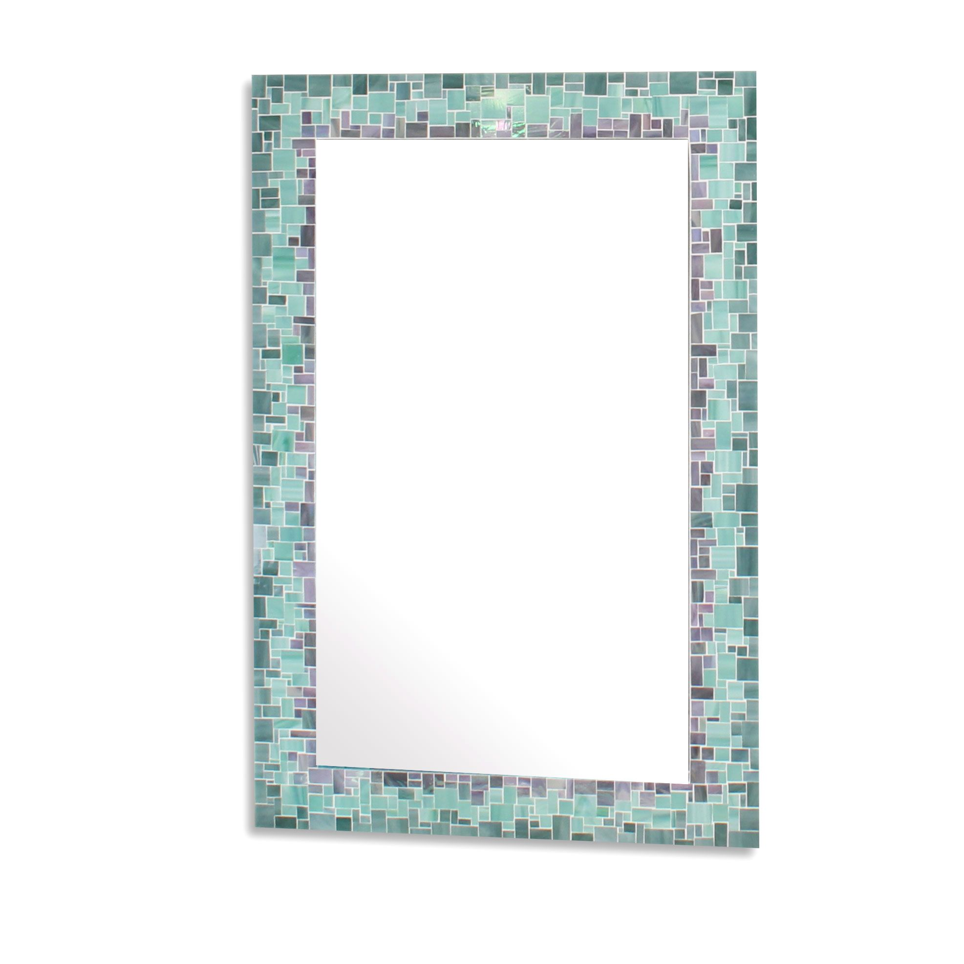 Custom Made Sunburst Decorative Mosaic Wall Mirror In Iridescent Gray Sea Green And Blue