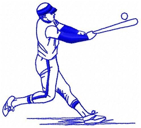 Hand Made Baseball Player Embroidery Design By Ice Purple Penguin
