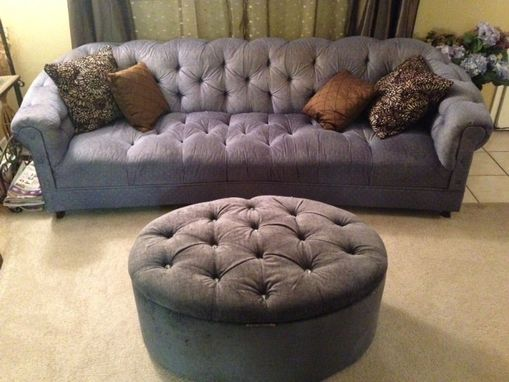 Custom Made Tufted Oval Storage Ottoman