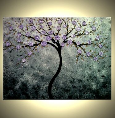 Custom Made Abstract Floral Tree Painting Contemporary Impasto Art Xlarge Original Gallery Wrap Canvas