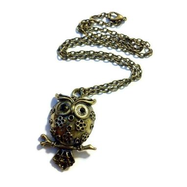 Custom Made Ornate Owl Necklace - Antiqued Bronze Owl Necklace