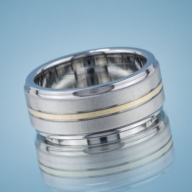 Custom Made Stainless Steel And Gold Brushed Koenig Wedding Band